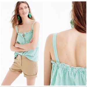 J Crew Button Front Ruffle Top Striped Green White